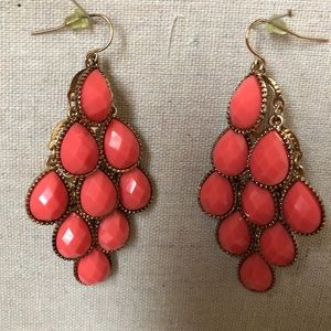 Earrings Coral and Gold color